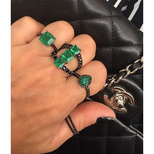 Anel Quadrado Negro Zirconia Esmeralda Fusion