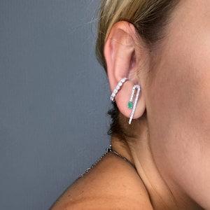 Brinco Ear Hook Esmeralda Prata925