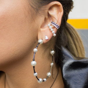 Brinco Ear Hook Perolas Prata925