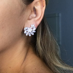 Brinco Ear Cuff Flower Cristal Prata925