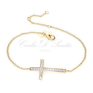 Pulseira Cruz Cravejada Ouro Prata925