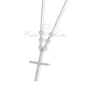 Colar Crucifixo Prata925 com Ponto Luz na Corrente