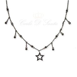 CHOKER Your Star Ponto Luz Negra Prata925