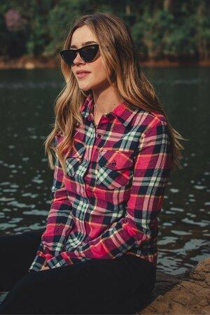 Camisa Feminina Xadrez Rosa