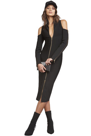 Vestido Tricot Gola Alta Ombros Vazados