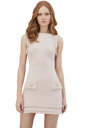 Vestido Curto Botões Pérola Tweed