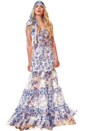 Conjunto Estampa Floral Azul e Branca