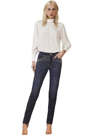 Calça Jeans Skinny Bordada