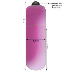 Microcápsula Vibratória Emborrachada Cor Rosa 6 cm x 1,8 cm