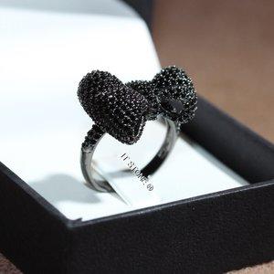 Anel Laço Cravejado Luxo Negro