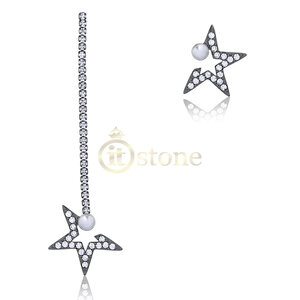 Brinco Double Side Pendente Star Pearl Negro