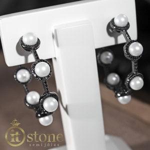 Argola Luxo Pearls Negra