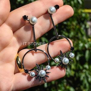 Brinco Lallybroch Pearls Negro