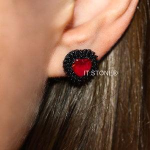 Brinco Heart Dupla Cravação Rubi Negro