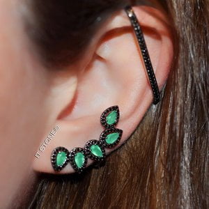 Ear Cuff Folhas Esmeralda Negro