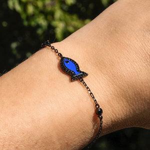 Pulseira Fish Blue Esmaltada Negra