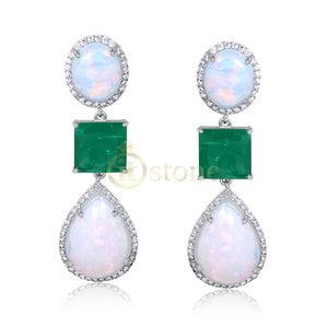 Brinco Fascinate Opala Branca Esmeralda Fusion