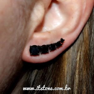 Ear Cuff Zircônias Negro