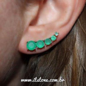 Ear Cuff Zircônias Esmeralda