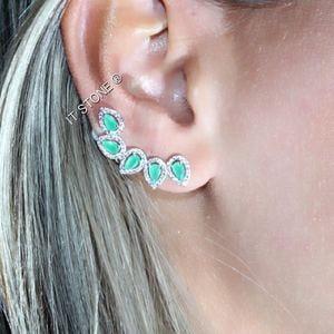 Ear Cuff Folhas Esmeralda