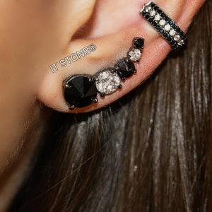 Mix Ear Cuff Zircônia Black and White