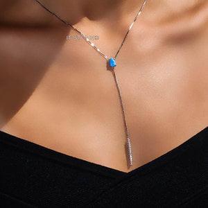 Colar Gravatinha Fairlight Opala Azul