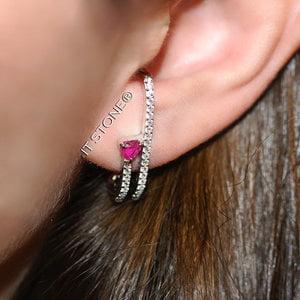 Ear Hook Double Heart Rubi