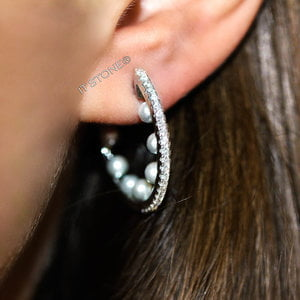 Argola Cravejada Pearls P