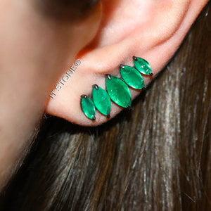 Ear Cuff Navetes Uneven Esmeralda Fusion