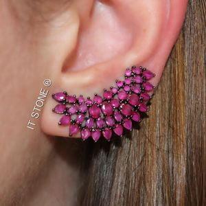 Ear Cuff Cindy Negro Rubi