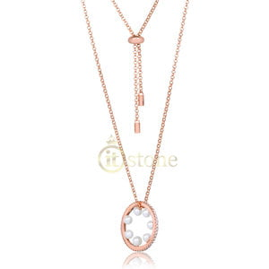 Colar Mandala Pérolas Back Necklace Rosé