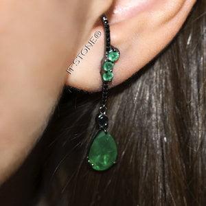 Ear Hook Iris Gota Esmeralda Fusion Negro