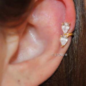 Piercing Falso Gotas Dourado (Unidade)