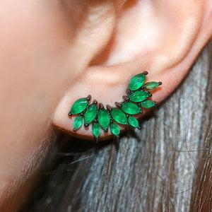 Ear Cuff Precious Esmeralda Negro