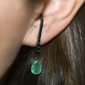Ear Hook Classy Gota Esmeralda Fusion Negro