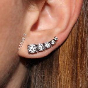 Ear Cuff Zircônias Ródio Negro