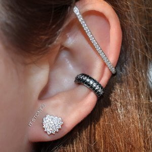 Mix Brinco Heart Cravejado, Piercings Falsos Black and White e Hook Cartilagem