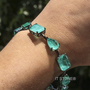 Pulseira Pedras Lapidação Mista Luxo Turmalina Fusion