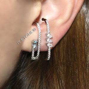 Ear Hook Double Drop Água Marinha