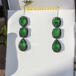 Brinco Pedras Liv Luxury Esmeralda Fusion Negro