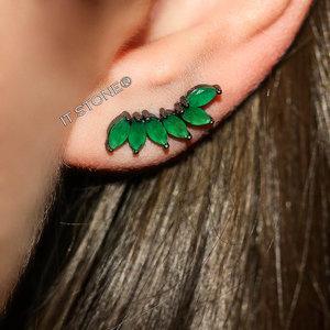 Ear Cuff New Navetes Esmeralda Negro