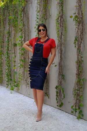 Jardineira Jeans Marcelly