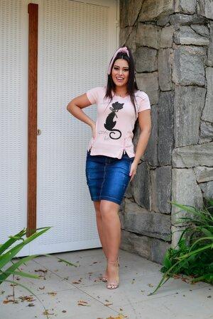 T-shirt Gatinho Brilhante