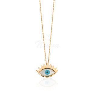 Colar Olho Grego Cílios Ouro