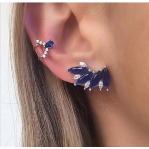 Brinco Ear Cuff Leque Safira Prata