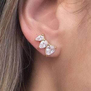Brinco Ear Cuff Gotas Ouro P