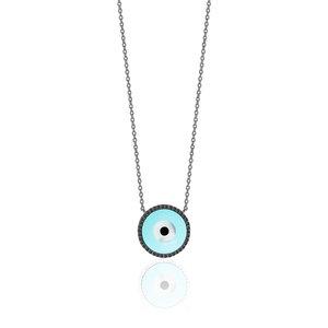 Colar Olho Grego Azul Negro Prata 925