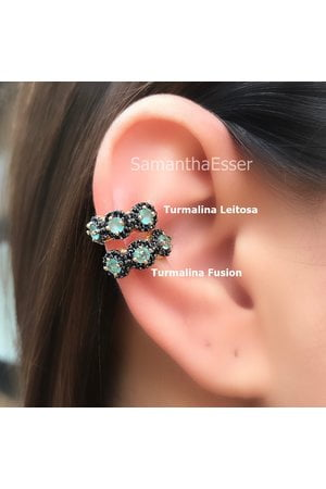 Piercing Fake 3 REDS Florzinha BLACK - OURO 18K