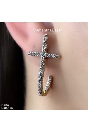Ear Hook Crucifixo Cravejado