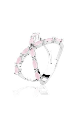 Anel em x com zircônias na cor Rosa Quartz